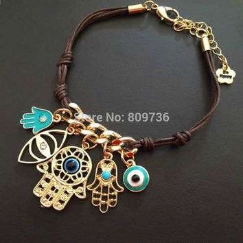 Charm Hamsa Hand Good Luck Lucky Evil Eye Rope Bracelet Gold Tone