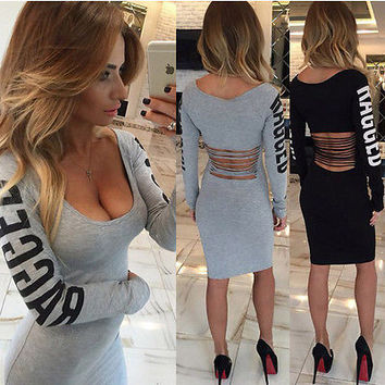 Ladies Waist Hollow Out dress Star Same Style long sleeve letters sexy slim party dresses drop shipping