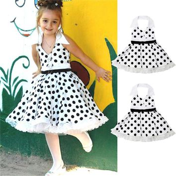 Vintage Lace Ruffle Polka Dot Dress For Kids