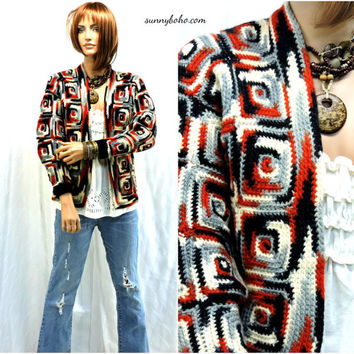 Vintage 70s granny square sweater S / M 1970s handmade crocheted cardigan boho hippie grannysquare sweater SunnyBohoVintage