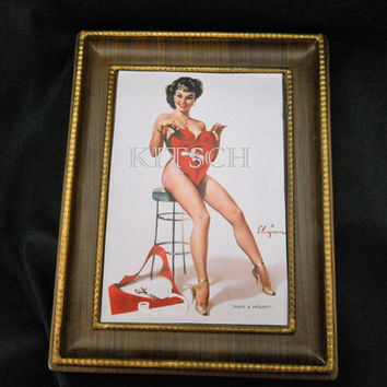 Pin Up Art - Vintage Elvgren Pin Up Girl - Framed Reproduction - Valentines Day