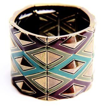 Tribal Geometric Enamel Stretch Bangle Bracelet