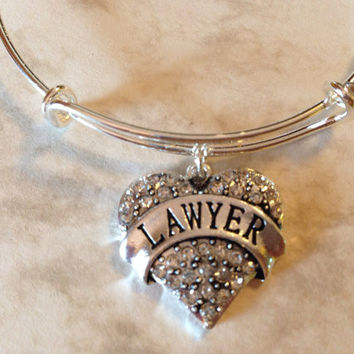 Lawyer Crystal Heart Expandable Charm Bracelet Adjustable Wire Bangle Gift Trendy Fun Unique Gift