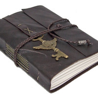 Brown Leather Journal with Winged Clock Charm Bookmark
