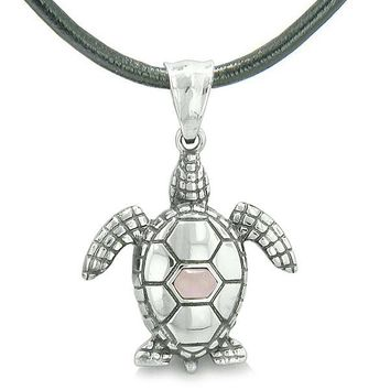 Amulet Sea Turtle Cute Pink Cat's Eye Crystal Lucky Charm Pendant on Leather Cord Necklace