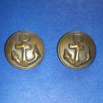 "2 Rustic Anchor Nautical Buttons Antique Brass 7/8"" 23 mm"