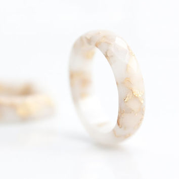 White Resin Stacking Ring Gold Flakes Small Faceted Ring OOAK french vanilla milk minimalist jewelry rusteam