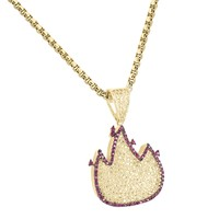 Fire Emoji Iced Out Canary Pendant Necklace