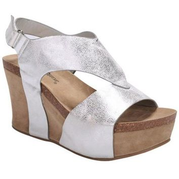 metallic wedge heel sandals (3 colors)