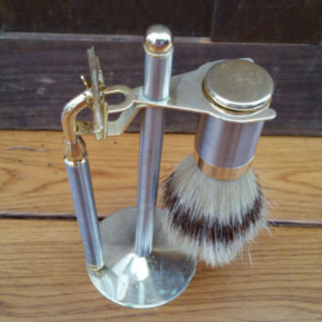 Vintage Silver and Gold Toned Shaving Set Razor Stand Shave Brush Barber Decor