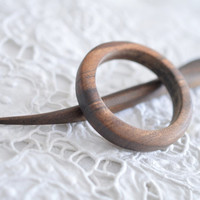 the rising run- american walnut brown yellow  antique hair pin shawl pin