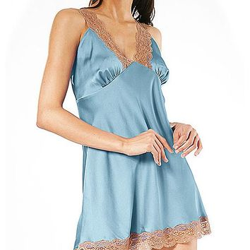 Chemise - Lace-Trimmed Satin Charmeuse (Small-3X)