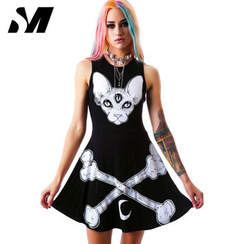 Novelty Harajuku Dress 2016 Punk Black Dresses Women Skeleton Print Summer Sleeveless Dress Vestidos Rock Roll Style SM4D048
