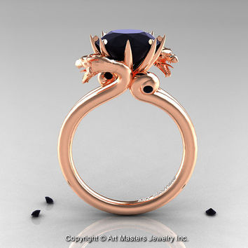 Art Masters 14K Rose Gold 3.0 Ct Black Diamond Dragon Engagement Ring R601-14KRGBD