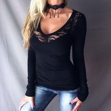 Sexy Women T-Shirts Fashion V-Neck T Shirts Lace Detail Ruched Sides Fitted Stretch Tee Top Black WS848R