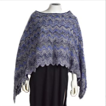 Missoni Reversible Cape Poncho with Fringe Trim Blue