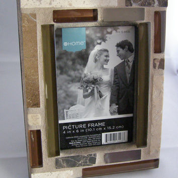 Brown Green Glass Stone Photo Frame, 5 x 7 Frame, Christmas Gift, Unisex Gift, Holiday Gift, Black Friday, Cyber Monday