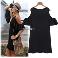 Women Butterfly Sleeve Strap Off Shoulder Casual Summer Dress Tops Blouse ES9P