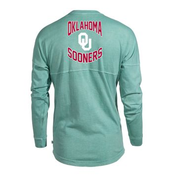 Official NCAA University of Oklahoma Sooners OU Boomer Sooner Women's Long Sleeve Spirit Wear Jersey T-Shirt