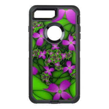 Modern Abstract Neon Pink Green Fractal Flowers OtterBox Defender iPhone 7 Plus Case