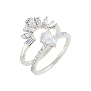 Nadri Fanfare Cubic Zirconia Interlocking Ring Set | Nordstrom