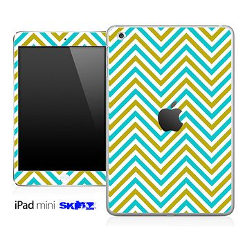 Blue/Gold Sharp Chevron Pattern Skin for the iPad Mini or Other iPad Versions