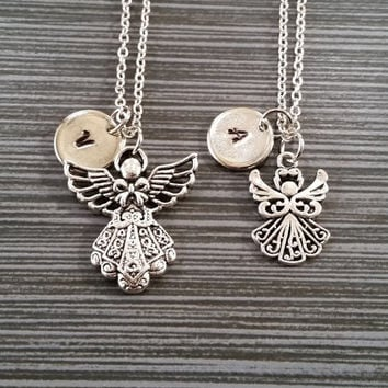 Two Silver Mother Daughter Necklaces - Angel Necklaces - Personalized Necklace - Initial Necklace - Friend Gift - Mom Baby Necklace