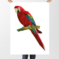 Low Poly Parrot Print, Polygon Art, Jungle Nursery, Instant Download, Printable Art, Geometric Art, Home Wall Art, Red & Blue Print, Macaw