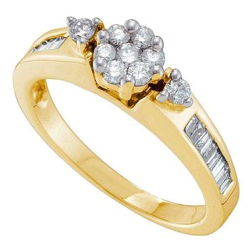 14kt Yellow Gold Women's Round Diamond Flower Cluster Fashion Ring 1/2 Cttw - FREE Shipping (USA/CAN)