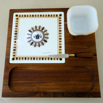 Georges Briard Cheese Board with Knife, Glass Dish and Cutting Tile Mid Century at it's Finest