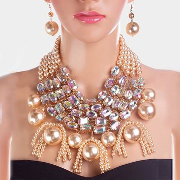 5Row Strand Crystal Pearl Statement Necklace