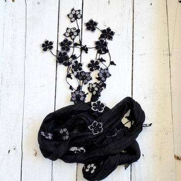 Black Silk Scarf, Boho Silk Necklace, Oya Wrap Scarf, Beaded Necklace, Crochet Flower Scarf, Beaded Jewelry, Gothic Necklace, Women's Gift
