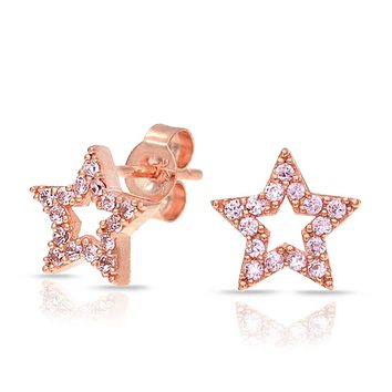 Patriotic Rock Star Micro Pave Cubic Zirconia CZ Stud Earrings