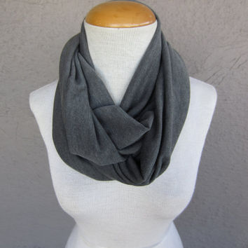 Grey Infinity Scarf - Soft Sweater Knit Scarf - Grey Circle Scarf