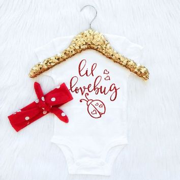Baby Girl Clothes, Lil Lovebug Bodysuit, Take Home Outfit, Coming Home Outfit, Red and White Dot Knot Headband, Trendy Baby Clothes