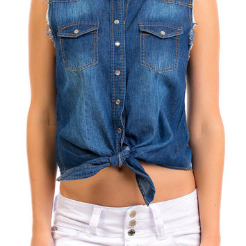 Frayed Chambray Top