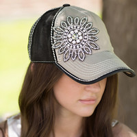 Floral Bling Baseball Hat