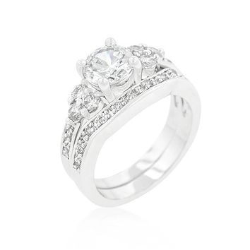 Be Mine - Women's Brass Plated Triple Stone Engagement Ring Set
