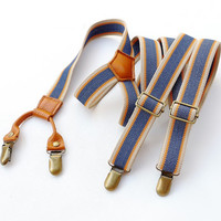 Beige and Blue Suspender. Mens Suspender. Leather Suspender