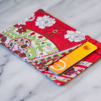 Red Paisley wallet - Business card holder - Business card case - Thin wallet, Slim card wallet, Card Case, Card Sleeve, Front pocket, OOAK