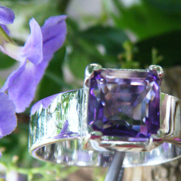 Minimalist wide band silver ring with square cut amethyst, large amethyst ring, big amethyst ring, plus size ring, size 7 8 9 10 11 12