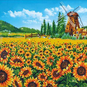 "Sunflower Windmill Diamond Dotz Diamond Embroidery Facet Art Kit 33.5""X25.5"""