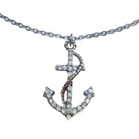 Silver Crystal Encrusted Anchor Pendant Necklace
