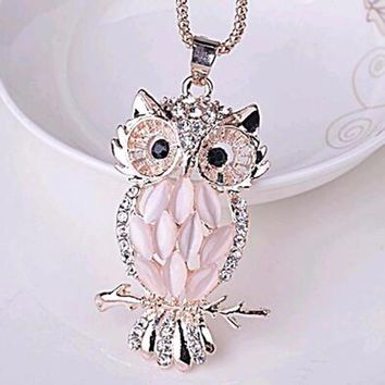 All Rose Owl Necklace