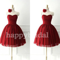 Short Wine Red Bridesmaid Dresses Lace up Tulle Prom Dresses Party Dresses Evening Dresses 2014 Formal Party Occasions