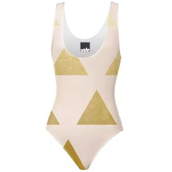 Blush & Golden Triangles Swimsuit
