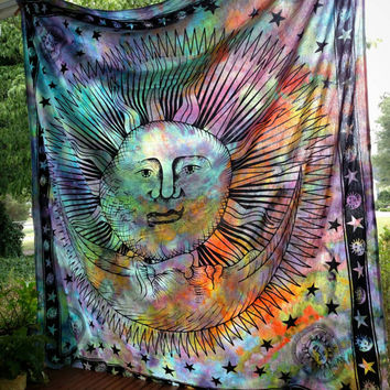 Custom Made to Order Celestial Sun & Moon Tie Dye Tapestry