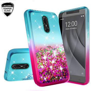 Nokia 3.1 Plus Case Liquid Glitter Phone Case Waterfall Floating Quicksand Bling Sparkle Cute Protective Girls Women Cover for Nokia 3.1 Plus W/Temper Glass -  (Teal/Pink Gradient)