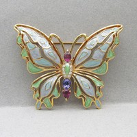 HUGE Signed BOB MACKIE Vintage Amethyst Rhinestone & Purple, Blue, Green Enamel Butterfly Pin