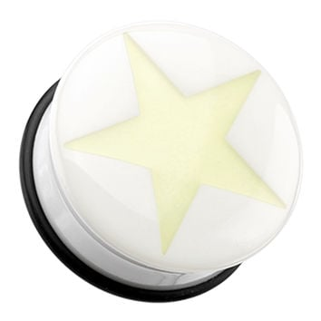 Glow in the Dark Solo Star Single Flared Ear Gauge Plug